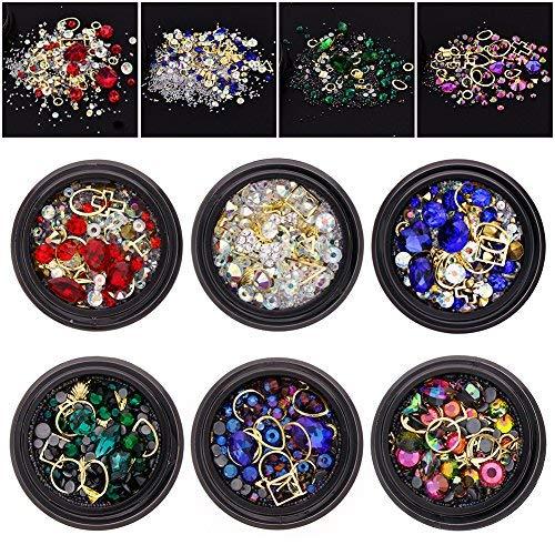 6 Wheels Mixed Nail Art Rhinestones Diamonds Crystals Beads Gems for DIY Decor Decorations Accessories (01#)