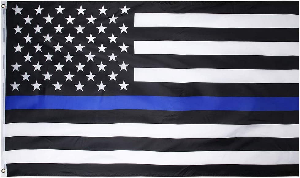 SIX FOXES Thin Year-end gift Blue Line Flag American 3x5 FT with Ranking TOP5 Sturd