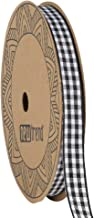NewTrend Gingham Ribbon 25 Yard Each Roll 100% Polyester Woven Edge (3/8-Inch, Black)