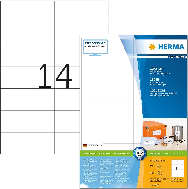Herma Herma Herma 4625 Universal Etiketten (105 x 42,3 mm) weiß, 2.800 Klebeetiketten, 200 Blatt Premium DIN A4 Papier matt, bedruckbar, selbstklebend B000KJVFZ0  | Online Outlet Store  c6a78c