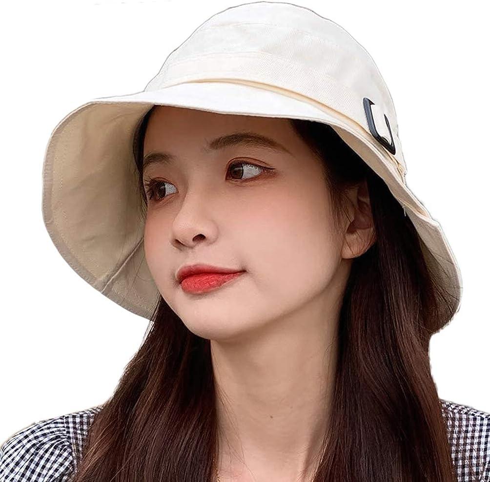 Women Sun Bucket Hat Cotton Hats Teens Girls Wide Brim Floppy Summer Beach Caps UPF 50+