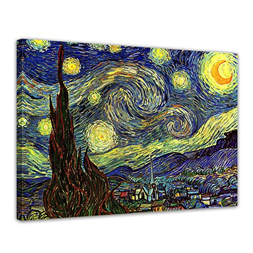Leinwandbild Vincent Van Gogh Sternennacht - 50x40cm quer - Wandbild Alte Meister Kunstdruck Bild auf Leinwand Berühmte Gemälde