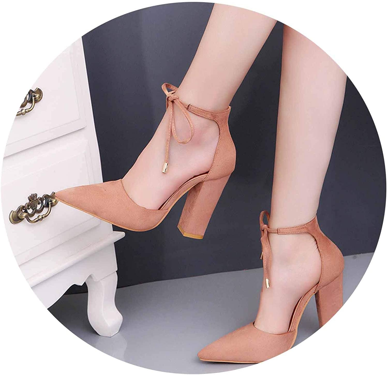 Pointed Toe Ankle lace up Pumps Spring summerthick high Heels Solid Flock Dress shoes Woman