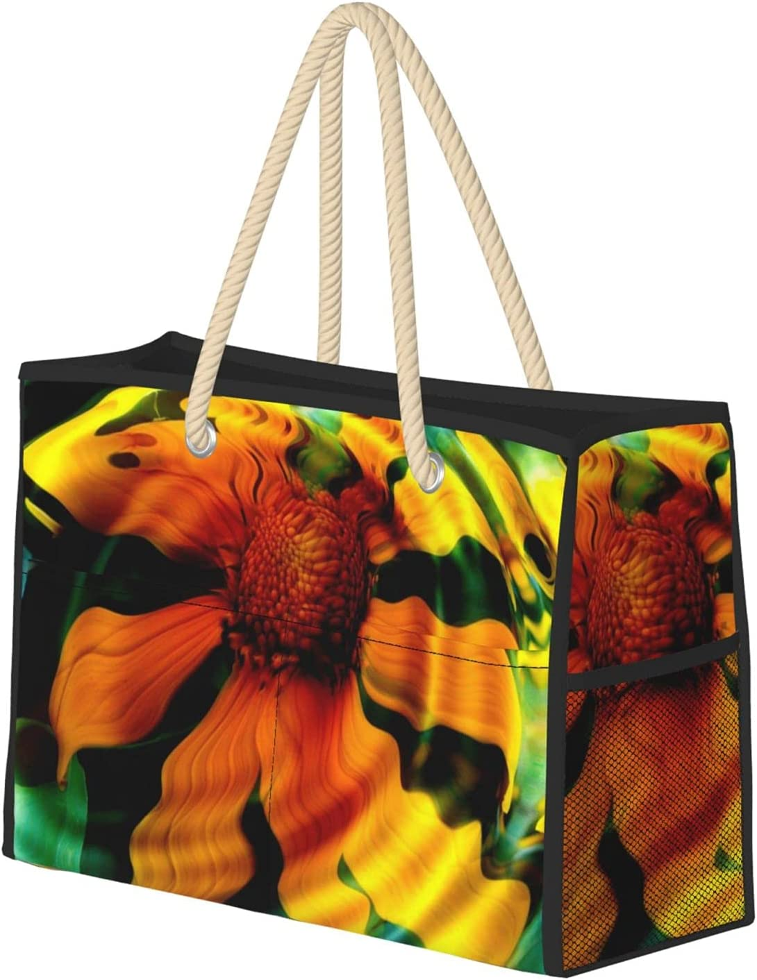Sunflower In Water Beach Bag Super sale Now free shipping Zipper Tote Wit Sandproof