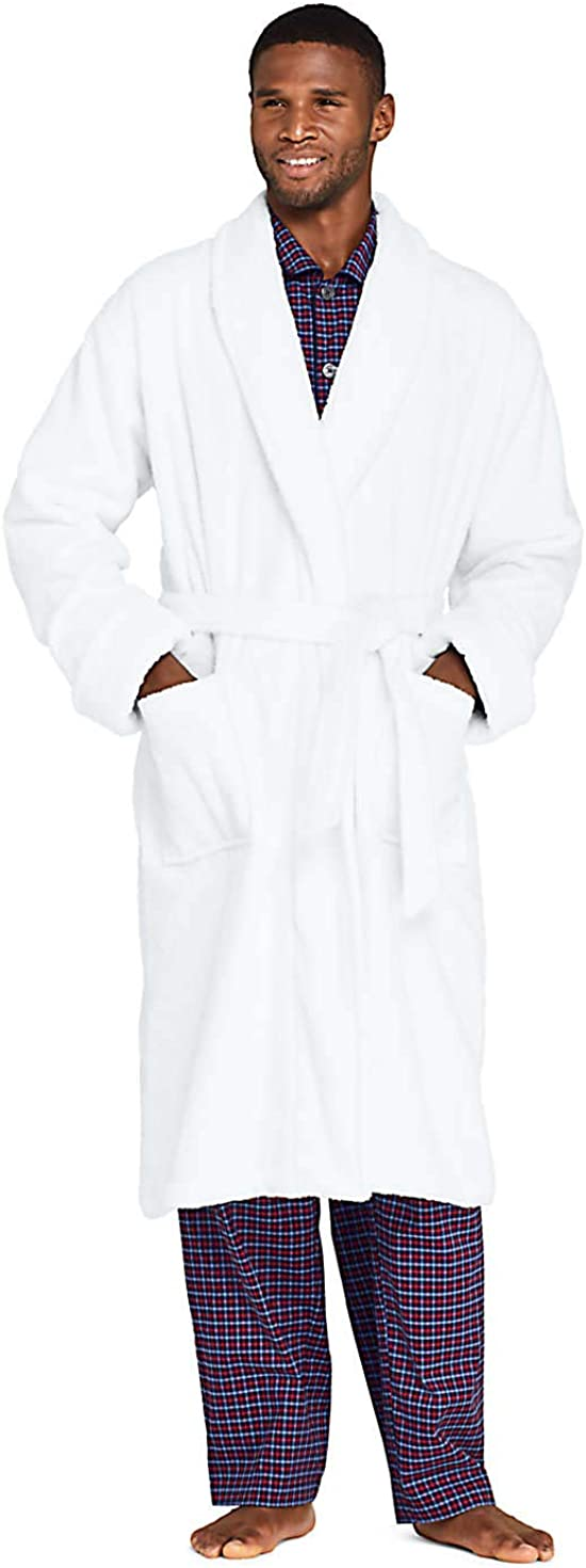 Lands' End Men's Max 67% OFF Turkish SEAL limited product Terry Cloth Robe Pocke with Length Calf
