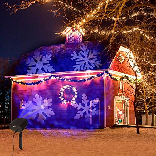 Weihnachten LED Projektorlampe,OxyLED Projektor Lichter LED Effektlicht Mit Wave und Snowflake Dual Projektor Lichter Wasserdichte Innen/Außen Weihnachten Licht Projektor für Garten Party Weihnachten
