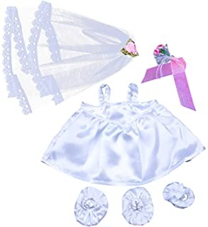 "Bride w/Veil and Bouquet outfit Teddy Bear Clothes Fits Most 14"" - 18"" Build-A-Bear and Make Your Own Stuffed Animals"