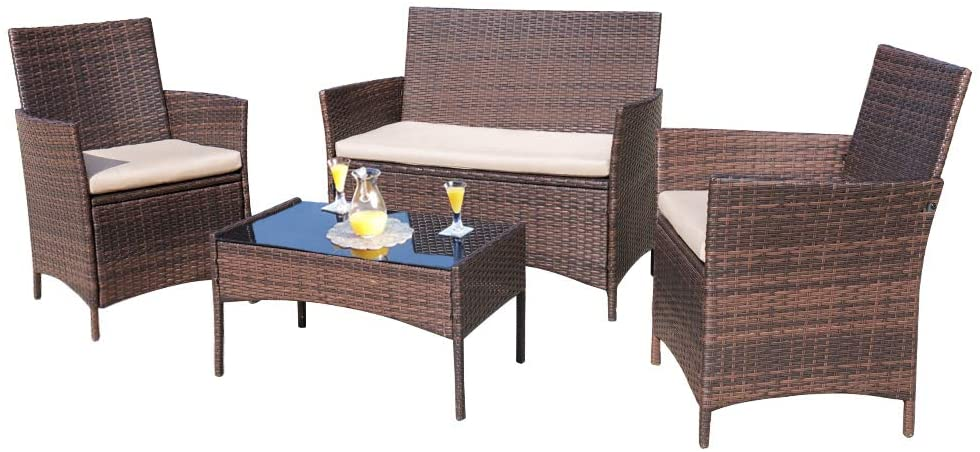 overseas Homall 4 Pieces Outdoor Patio Furniture Wicker Sets Chair New product type Rattan
