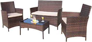 Homall 4 Pieces Outdoor Patio Furniture Sets Rattan Chair Wicker Set, Outdoor Indoor Use Backyard Porch Garden Poolside Balcony Furniture Sets (Brown and Beige)