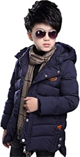 QCHENG Boys' Winter Mid-Long Thicken Hooded Down Cotton Coat Warm Puffer Jacket Parka Outerwear