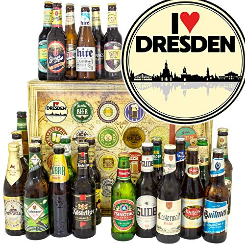 I love Dresden/Bier Geschenk Welt und DE/Geburtstagsüberraschung Dresden/Bier Adventskalender 2019
