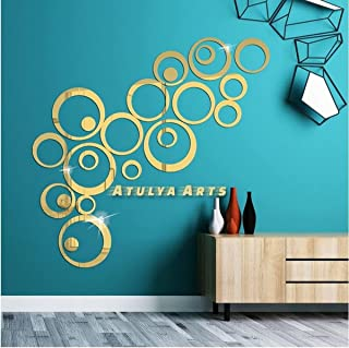 Atulya Arts Rings and Dots (Pack of 24) 3D Acrylic Stickers Decorative Sticker Acrylic Mirror Wall Stickers for Bedroom Li...