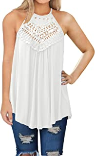 MIHOLL Womens Summer Casual Sleeveless Tops Lace Flowy...