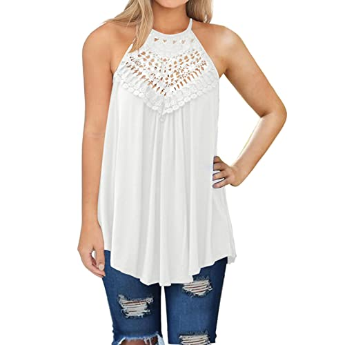 3a3d03c3 MIHOLL Womens Summer Casual Sleeveless Tops Lace Flowy Loose Shirts Tank  Tops