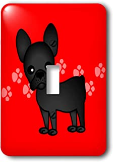 3dRose LSP_25318_1 Cute Black Brindle French Bulldog Red with Pawprints Toggle Switch
