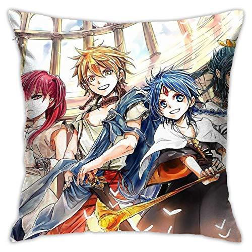 qidong Magi - Alibaba Morgiana Aladdin Hakuryuu - Fundas de almohada cuadradas para decoración del hogar, 45,7 x 45,7 cm