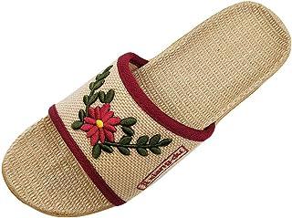 HRFEER Men Slippers Silent Floor House Slipper Lightweight Linen Summer Beach Shoes for Men's Sandals