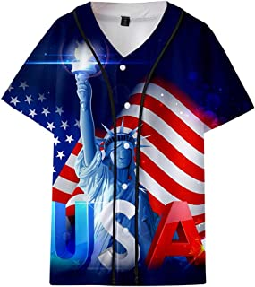 Men Summer T-Shirt Casual Printed 4th of July Loose Round Neck Flag Tops