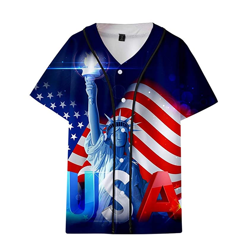 Xlala T Shirt for Men's Couple Summer Us Flag Printed Short Baseball Uniform Jacket Loose Casual Shirts Independence Day Tops