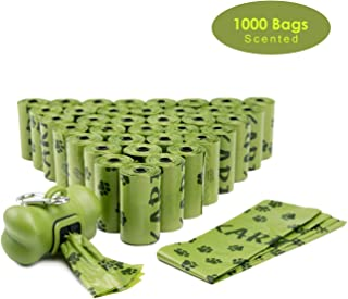 FINNKARE 1000 Counts Pet Dog Waste Bags Poop Bags Heavy Duty Leak-Proof Biodegradable Scented Includes Dispenser and Leash Clip