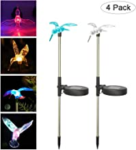 YOUDirect Solar Garden Lights - 4pcs Pack Decorative LED Stake Pathway Lights Outdoor Garden Lawn Patio Yard Festival Hummingbird Butterfly Dragonfly 7 color-changing (Birds)