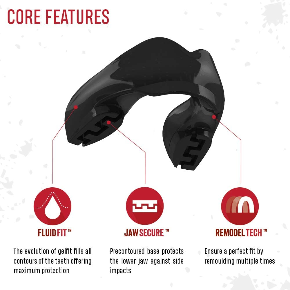 Basketball One Size Re-Mouldable Strapless with Case for Boxing Martial Arts SAFEJAWZ Mouthguard for Braces Hockey and All Contact Sports Football MMA