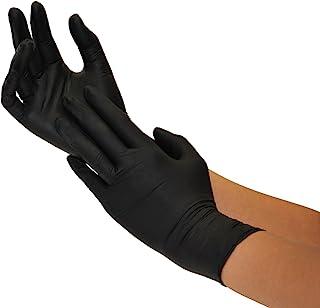 Guantes Desechables de Nitrilo 200 Unidades Caja Talla (M, Negro) Guantes de examen, sin latex, sin polvo, no estériles, disposables medical gloves, black Medium