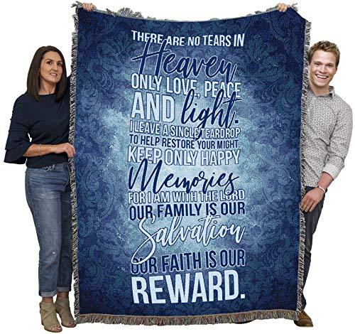 There are No Tears in Heaven -Sympathy Blanket Throw Woven from Cotton - Made in The USA (72x54)