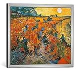 kunst für alle Bild mit Bilder-Rahmen: Vincent Van Gogh Der rote Weinberg - dekorativer Kunstdruck, hochwertig gerahmt, 50x40 cm, Silber gebürstet