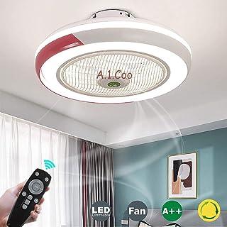 Ultra silencioso Can Timing Fan Chandelier Ventilador moderno Lámpara de techo Regulable creativo con control remoto Sala de estar Lámpara de dormitorio, Rojo [Clase energética A ++]