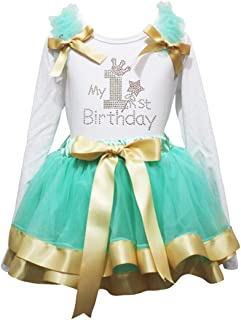 Petitebella My 1st Birthday Shirt Ribbon Petal Skirt Outfit Nb-2y (White/Aqua Gold (Long Sleeve), 3-12 Months)