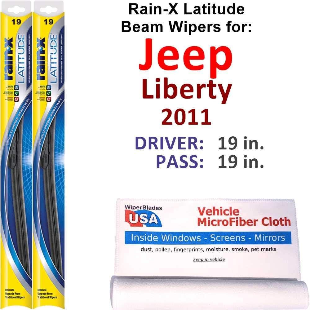 Rain-X Latitude Beam Wiper Blades for Set Liberty 2011 Rain Jeep National uniform free shipping Max 65% OFF