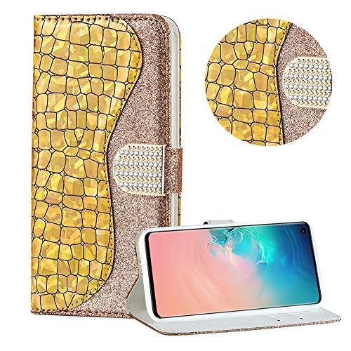 Diamant Brieftasche Hülle für Galaxy S10 Plus,Gold Wallet Handyhülle für Galaxy S10 Plus,Moiky Ultra Dünn Stilvoll Laser Glitzer Farbe Block Klappbar Stand Silikon Handytasche