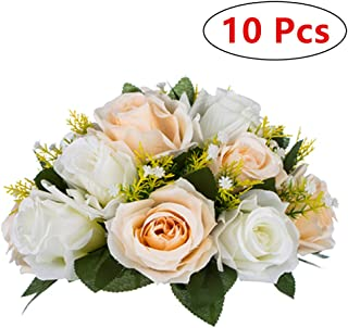 Pcs of 10 Fake Flower Ball Arrangement Bouquet,15 Heads Plastic Roses with Base, Suitable for Our Store's Wedding Centerpiece Flower Rack for Parties Valentine's Day Home Décor (Champagne & White)