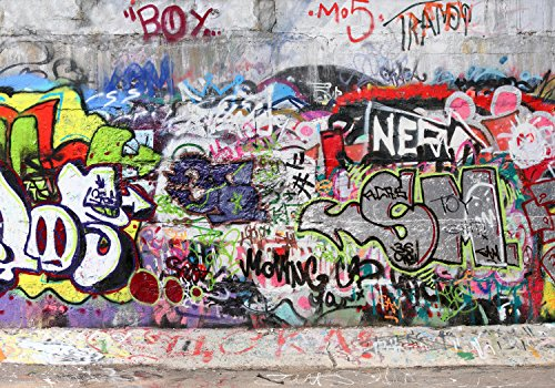 wandmotiv24 Fototapete Abstrakt Graffiti 3, XL 350 x 245 cm - 7 Teile, Fototapeten, Wandbild, Motivtapeten, Vlies-Tapeten, Streetart, Vintage, Muster M0027