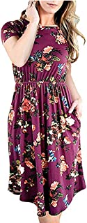 Women Printed Dress Casual Short Sleeve Round Neck Ruched Floral Dresses with Pocket