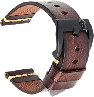 DITOU Watch Bands, Handmade Vintage Leather Watch Strap 18mm 19mm 20mm 21mm 22mm 23mm 24mm 26mm with PVD Black Stainless Steel Buckle