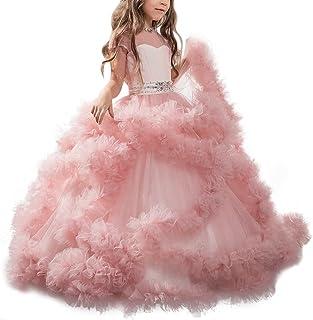 Appliques de encaje vestido de niña de flores para la boda Princesa Vestidos de Dama De Honor Fiesta Tul Bowknot Comunión Cumpleaños Bola Pageant Paseo Baile Maxi Cóctel Fotografía Vestir 2-13 Años