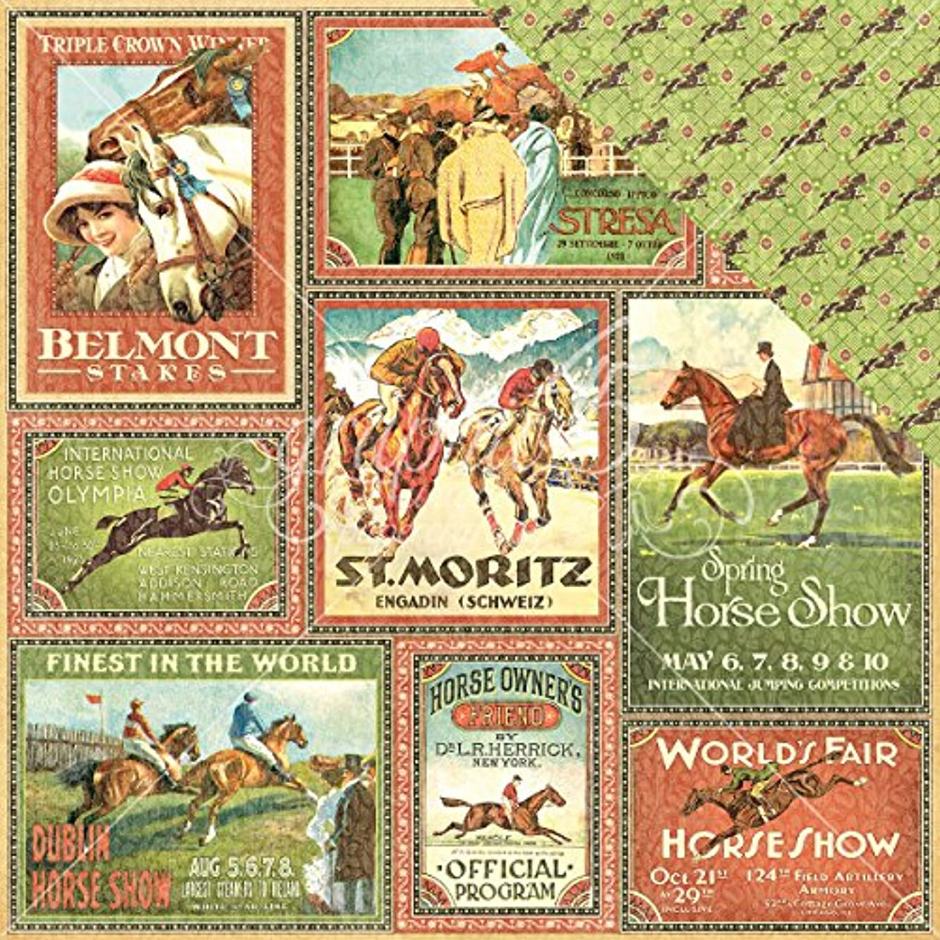 Graphic 45 Belmont Stakes 12 x 12-Inch Paper (25 Sheet Pack)