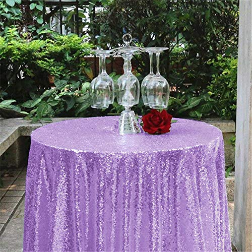 "50""Round Sequin Tablecloth Glitz Table Linen Light Purple Table Cover for Wedding Party Festival Table Cloth Decoration"