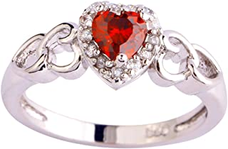 925 Sterling Silver Heart Shaped Created Pink Topaz Filled Halo Engagement Ring