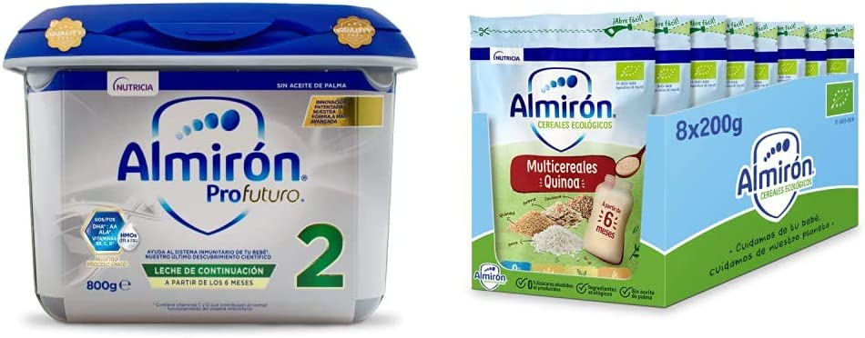 Almirón Profutura 2 Leche de Continuación en Polvo Desde Los 6 Meses, 800g + Cereales Infantiles Ecológicos Multicereales con Quinoa, 200g, 8 Unidades (1.6kg)