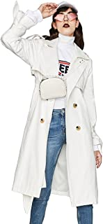Murfhee Women's Autumn Casual Double Breasted Trench Coat Long Jacket with Belt