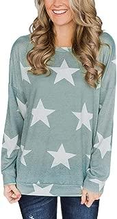 Dream_Mimi Women's Casual Star Print Long-Sleeved Shirt Coat Button top Round Neck Star Print Long Sleeve T-Shirt (L, Green)