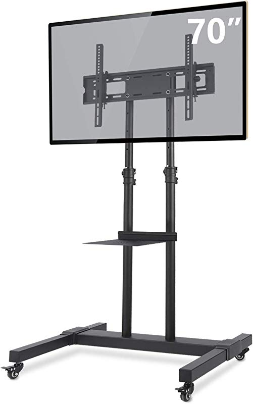 TAVR Mobile TV Stand Rolling TV Cart Floor Stand With Mount On Lockable Wheels Height Adjustable Shelf For 32 70 Inch Flat Screen Or Curved TVs Monitors Display Trolley Stand Loading 110lbs MT1001