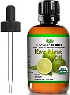 Mayan's Secret USDA Certified Organic Key Lime Essential Oil for Diffuser & Reed Diffusers (100% PURE & NATURAL - UNDILUTE...