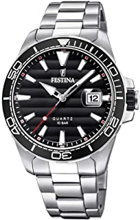 Festina F20360/2 Stainless Steel Black Dial Round analog Watch for Men - Silver