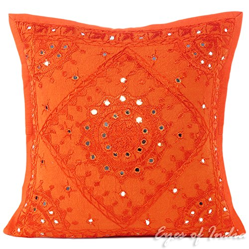 Eyes of India - Naranja Espejo Bordado Decorativo Sofá Funda Manta Cojín Boho Bohemio India - Naranja, Naranja, 16 X 16 in. (40 X 40 cm)