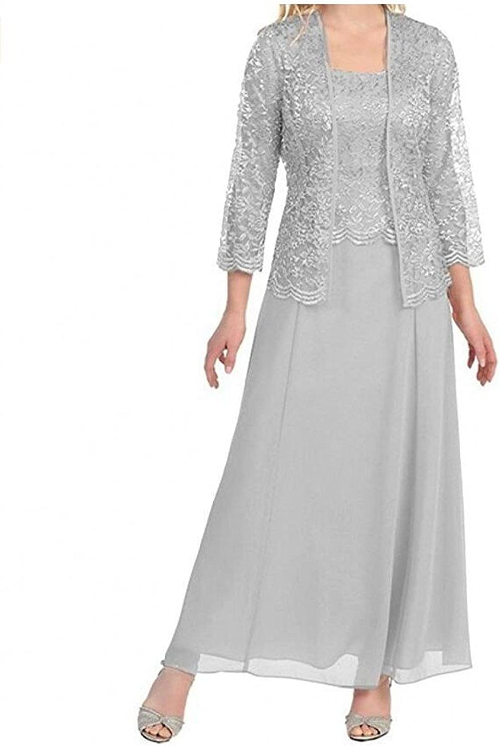 AK Beauty Womens Long Mother of the Bride Evening Formal Lace Dress with Jacket