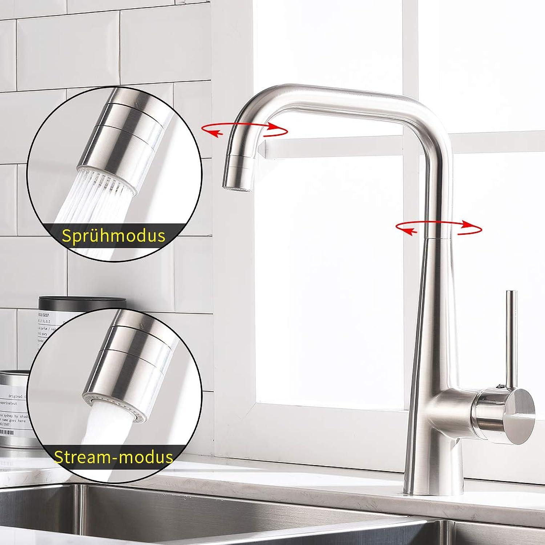 Timaco Kitchen Sink Mixer Tap 360° redatable Brushed Nickel